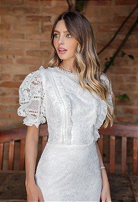 Vestido Gisele Branco em Renda e Manga Princesa