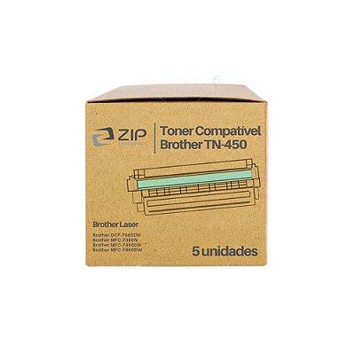 Kit de Toner Brother DCP-7065N | TN-450 Preto Compatível 5un