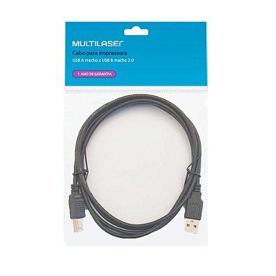 Cabo USB 2.0 A x B para Impressora WI027 Multilaser 1,8m