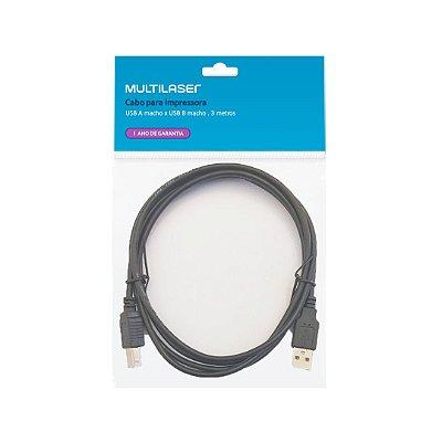 Cabo USB 2.0 A x B para Impressora WI273 Multilaser 3m