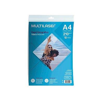 Papel Fotográfico Adesivo Matte A4 210g PE007 Multilaser 10 Folhas