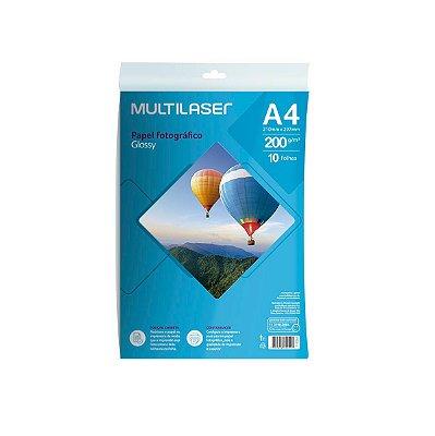 Papel Fotográfico Glossy A4 200g PE011 Multilaser 10 Folhas