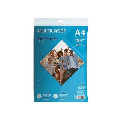 Papel Fotográfico Glossy A4 135g PE036 Multilaser 20 Folhas