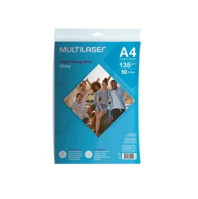 Papel Fotográfico Glossy A4 135g PE037 Multilaser 50 Folhas