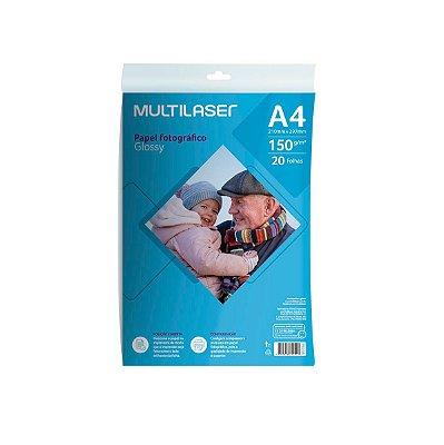 Papel Fotográfico Glossy A4 150g PE038 Multilaser 20 Folhas