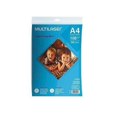 Papel Fotográfico Matte A4 108g PE043 Multilaser 50 Folhas