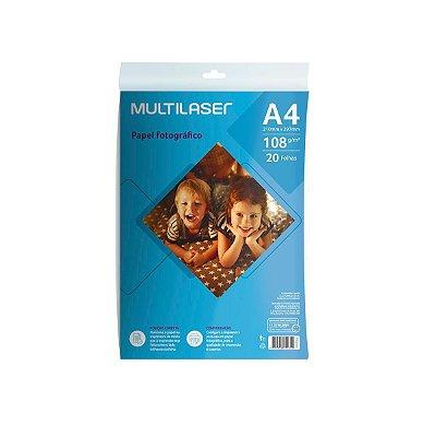 Papel Fotográfico Matte A4 108g PE044 Multilaser 20 Folhas