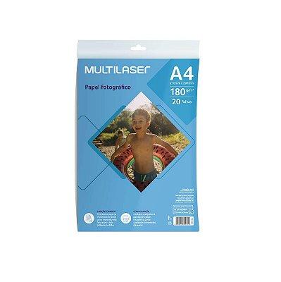 Papel Fotográfico Matte A4 180g PE045 Multilaser 20 Folhas