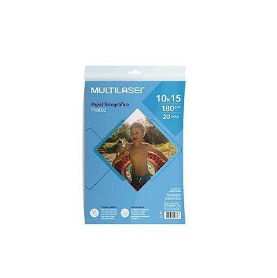 Papel Fotográfico Matte 10x15 180g PE047 Multilaser 20 Folhas
