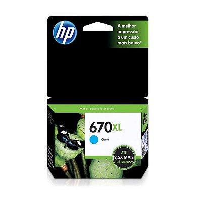 Cartucho HP 5525 | 4615 | CZ118AB | HP 670XL Ciano Original