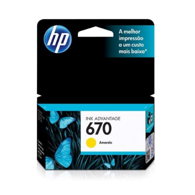 Cartucho HP 4615 | 3525 | CZ120AB | HP 670 Amarelo Original 3,5ml