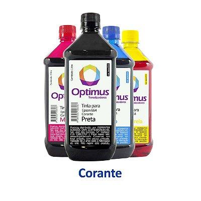 Kit de Tintas Epson L575 EcoTank | T664120 | 664 Optimus Preta + Coloridas 1 litro