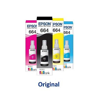 Kit 4 Tinta Epson L575 | 575 | T664120 | 664 EcoTank Original Preta + Coloridas 70ml