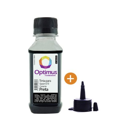 Refil de Tinta Epson T673120 | L1800 | 673 EcoTank Preta Optimus