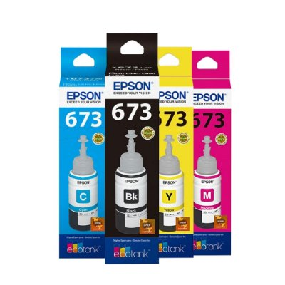 Kit 4 Tintas Epson L805 | 673 | T673120 EcoTank Originais 70ml