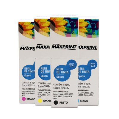Kit 4 Tintas Epson L850 | 673 | T673120 EcoTank Maxprint 100ml