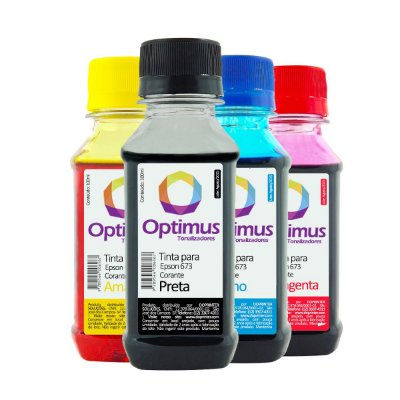 Kit 4 Tinta Epson L850 EcoTank Optimus Preta + Colorida 100ml