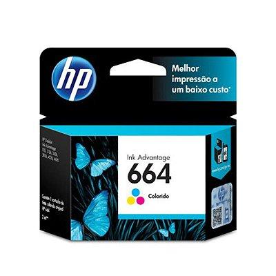 Cartucho HP 3836 | HP 664 | F6V28AB Deskjet Ink Advantage Colorido Original 2ml