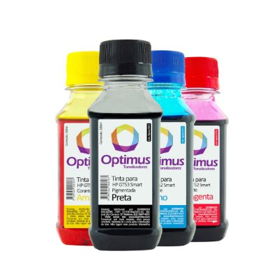 Kit de Tinta Optimus para HP GT53 + GT52 Smart Tank Preta + Coloridas 100ml