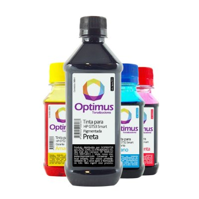 Kit de Tinta Optimus para HP GT53 + GT52 Smart Tank Preta 500ml + Coloridas 100ml