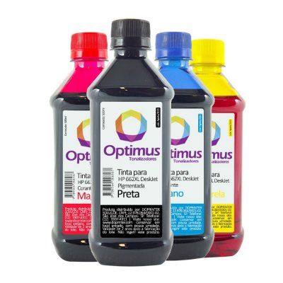 Kit de Tinta HP 662 | HP 662XL Optimus Preta + Coloridas 500ml