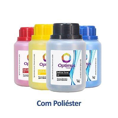 Kit de Refil de Pó de Toner HP CF500X | 202X Optimus Preto + Colorido + Dosador