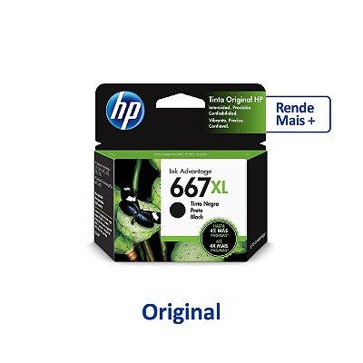 Cartucho HP 667XL | 3YM78AL | HP 667XL Preto Original 8,5ml