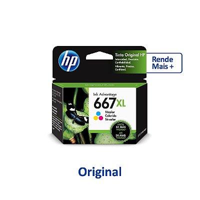 Cartucho HP 667XL | 3YM80AL | HP 667XL Colorido Original 8ml