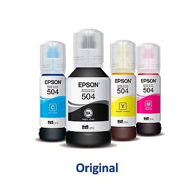 Kit de 4 Tintas Epson L4160 EcoTank   T504120   504 Original Preta 127ml + Coloridas 70ml