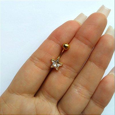Piercing para o Umbigo Estrela - Prata - haste custa de 10mm