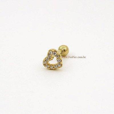 Piercing para Tragus - Coração cravejado em Ouro amarelo 18K