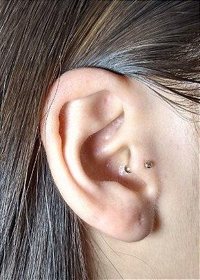 Piercing para a orelha - Pedra pequena 1.75mm - folheado a ouro