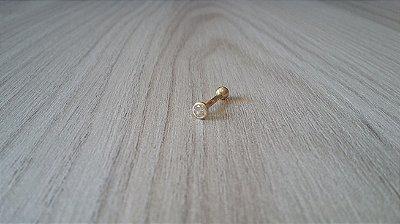 Piercing para Tragus/Cartilagem - Folheada a Ouro - Pedra com 3mm