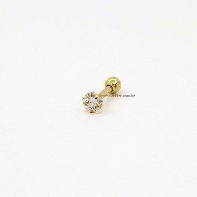 Piercing para Tragus - Estrela de pedra com garras em Ouro amarelo 18K
