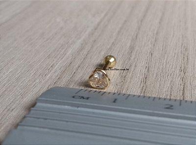 Piercing para Tragus/Hélix/Orelha - Coração de pedra - Ouro amarelo 18k