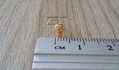 Piercing de Caveira para o nariz em Ouro Amarelo 18K