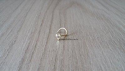 Piercing de nariz - Coração com pedra - Ouro Amarelo 18K