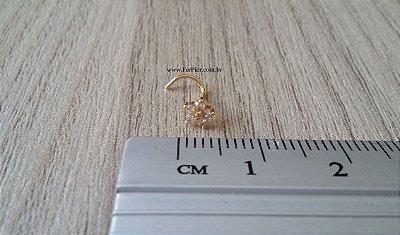 Piercing para o nariz - modelo flor - Ouro amarelo 18K