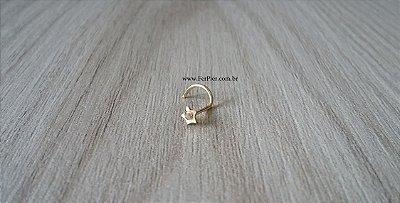 Piercing para o nariz - Estrela com pedra zirconia em Ouro Amarelo 18K