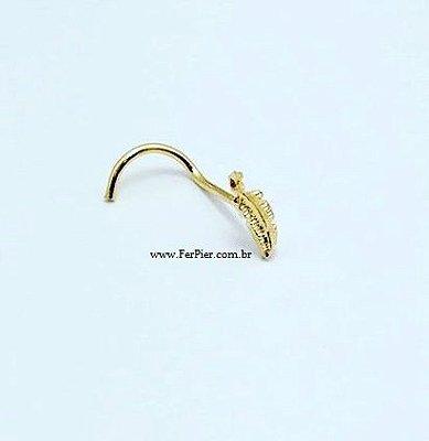 Piercing para nariz Folha/Pena - Ouro Amarelo 18K