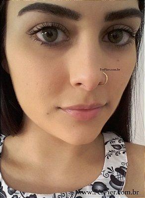 Piercing para nariz ou helix - Argola com fechamento em Ouro Amarelo 18K