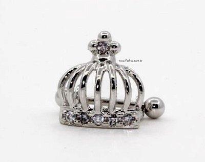 Piercing para Orelha/Hélix - Modelo: Coroa com pedra zirconia em Prata 950 e haste e bolinha em aço cirurgico + flanela polidora