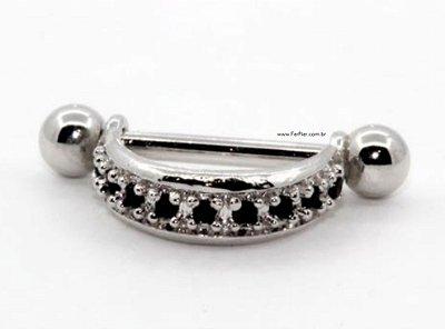 Piercing para Orelha/Hélix Cravejada com pedra zirconias em Prata 950 e haste e bolinhas em aço cirurgico + flanela polidora
