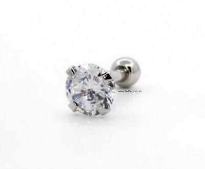 Piercing com pedra de redonda 5mm para Tragus/Hélix/Orelha em Prata 950 (pingente) e haste e bolinha em aço cirúrgico + flanela polidora