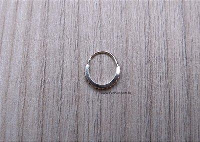 Piercing para Cartilagem/Orelha/Hélix em Prata 950 - Argola cravejada com pedras zirconias
