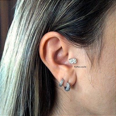 Piercing para Tragus/Orelha em Prata 950 (pingente) e haste e bolinha em aço cirurgico - Coruja + flanela polidora