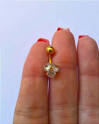 Pierncing para Umbigo com 3 pedras G - Folheado a Ouro - haste curta de 10mm