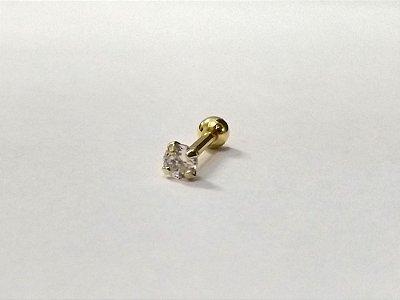 Pierncing para Tragus/Helix - pedra de 3mm - Folheado a Ouro