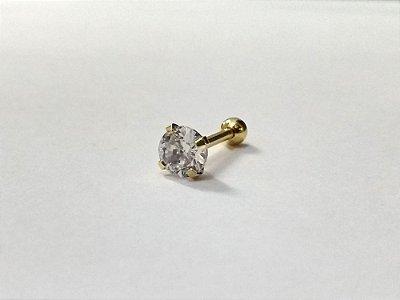 Piercing para Tragus/Helix - Pedra redonda com 5mm - Folheado a Ouro