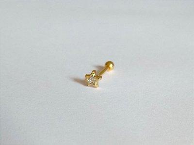 Pierncing para Tragus/Helix - Estrela pedra de 4mm - Folheado a Ouro
